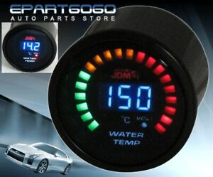 2 52mm Jdm Water Temperature Blue Digital Led Auto Gauge Meter Evo Wrx Eclipse
