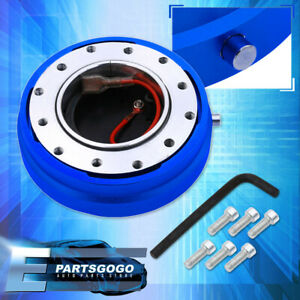 Short Quick Release Hub 1 5 Thin Car Steering Wheel Adapter Blue For Toyota