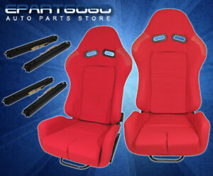 One Pair Full Reclinable Red Style Racing Seats Drag Circuit Drift 1 Pair Red
