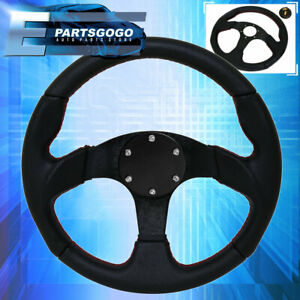 320mm Jdm 6 Bolt Racing Steering Wheel Black Pvc Leather With Red Stitching