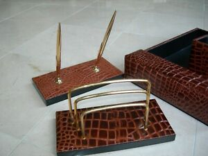 Brown Embossed Leather Desk Set W Letter Tray Pen Set Mail Holder Pencil Cup
