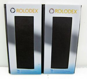 2 New Rolodex Organizer 96 Business Card Holder Book Brown Leather 76655 192