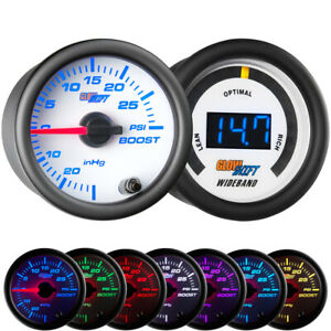 Glowshift 52mm White 7 Color 30psi Boost vacuum Wideband Air fuel Gauge Set