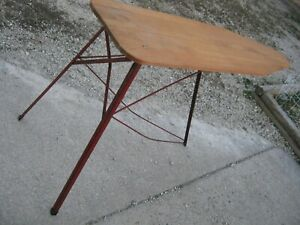 Primitive Vintage Old Used Wood Ironing Board And Red Metal Legs Good For Decor