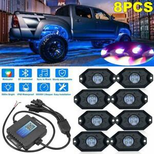8 Pod Led Rock Light Rgb Under Body Glow Bluetooth For Jeep Off road Truck Atv