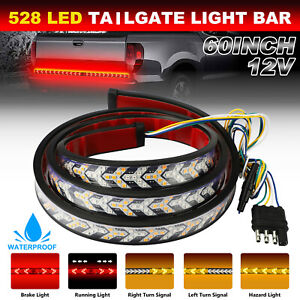 60 Triple Row Truck Tailgate Light Bar Led Strip Reverse Brake Turn Signal Lamp