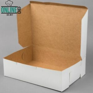 100 Case Bundle 14 X 10 X 4 White 1 4 Sheet Cake Cupcake Donut Bakery Box