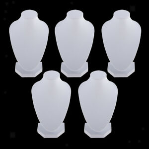 Set Of 5 White Pu Leather Necklace Bust Display Pendant Jewelry Stands