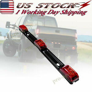 15 In Stainless Truck Boat Trailer Light Bar Red Led Identification Lights Strip