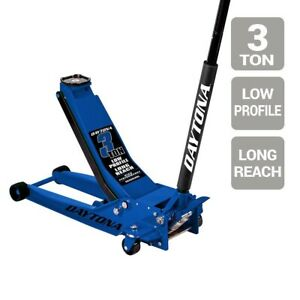 Floor Jack 3 Ton Long Reach Low Profile Professional Rapid Pump Blue