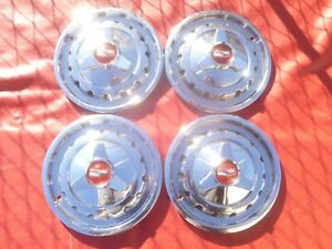 Vintage 1957 Chevy Belair 150 210 14 Three Bar Spinner Hubcaps Wheel Covers