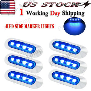 6x Blue Truck Trailer Led Side Marker Lights 3 9in Oval Chrome Clearance Light