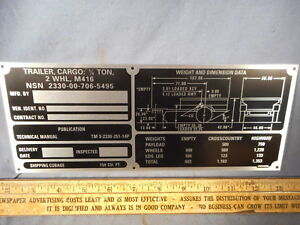 M416 Operational Data Plate For Military Trailer M151 M38 M37 Cucv M715 M998 M35