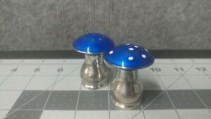 Vintage Sterling Silver Mushroom Salt Pepper Shakers Blue Enamel Norway Mcm