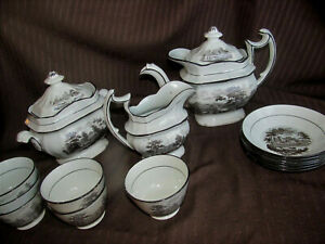 1800s England Staffordshire Antique Tea Set Black Transferware 15pc Teapot