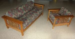 Mission Oak Arts Crafts Stickley Style Prairie Spindle Sofa Couch And Armchair