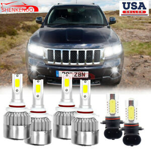 For Jeep Grand Cherokee 2005 2010 Led Headlight Bulbs Hi lo Beam Fog Light 6000k