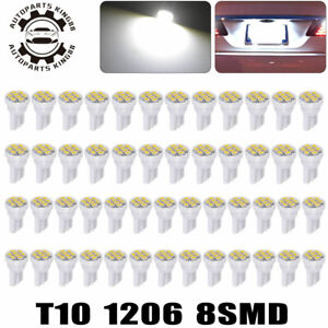 50x Pure White T10 8 Led Side Dome Map License Interior Light Bulbs 192 168 W5w