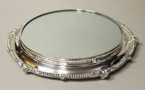 Antique Silver Plated Plateau Mirror With Round Ball Feet