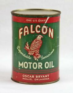 VINTAGE FALCON MOTOR OIL 1 QUART CAN OSCAR BRYANT HOLLIS  OKLAHOMA Never Filled