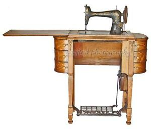 Antique The Free Oak Treadle 6 Drawer Sewing Machine Cabinet W Cast Iron Base