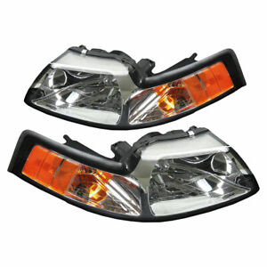 1999 2004 Ford Mustang Cobra Factory Headlights W Amber Side Markers Pair