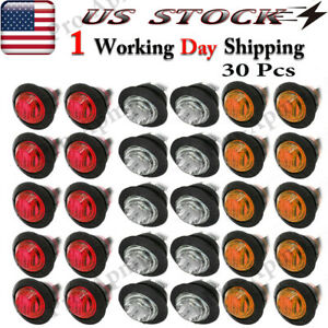 30x 3 4 Marker Lights Led Truck Trailer Round Side Bullet Light Amber Red White