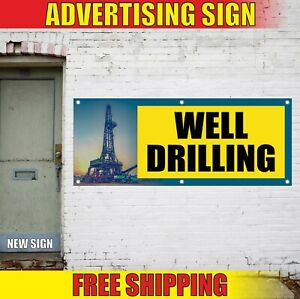 Well Drilling Banner Advertising Vinyl Sign Flag Dry Hole Oil Cable Service Here