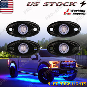 Blue 4 Pods Led Rock Lights For Jeep Offroad Truck Utv Atv Boat Underbody Light