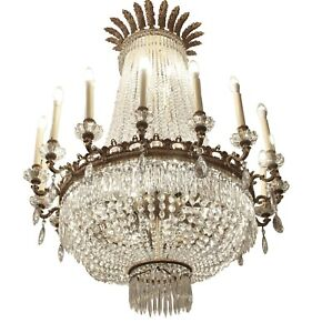 Palace Hotel Lobby Crystal Bronze 16 Arm Empire Style Chandelier