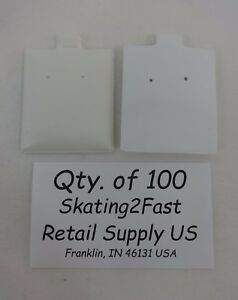 Qty 100 White Plain Puffed Earring Cards Hold 1 5 X 1 75