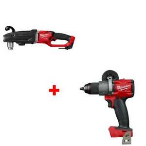 Milwaukee 2809 20 M18 1 2 Right Angle Drill And 2804 20 1 2 Hammer Drill Bare