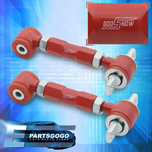 For 92 00 Civc Del Sol Integra Rear Polyeurathane Adjustable Camber Arm Kit Red