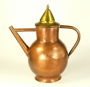 Antique 19th C Copper Tea Kettle Coffee Cocoa Pot Pitcher W Brass Lid