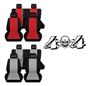 Front Rear Truck Seat Covers Fits 2013 18 Jeep Wrangler Embroidered 4 X 4 Design
