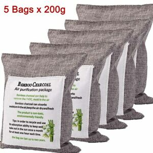 5 Activated Bamboo Charcoal Bags Nature Fresh Air Purifier Deodorizer Car Home