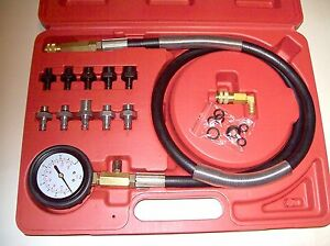 12pc Engine Oil Transmission Pressure Tester Gauge Diagnostic Test Kit 140 Psi
