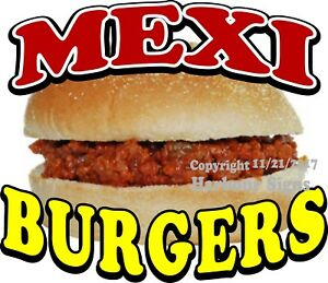Mexi Burgers Decal choose Your Size Food Truck Concession Sticker
