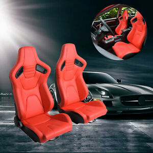 2x Racing Seat Black white Pu Leather Recline Sport Seats W 2sliders Universal