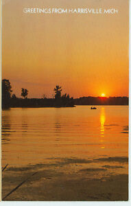 HARRISVILLE MICHIGAN GREETINGS EVENING SUNSET QUIET WATERS PM1973 MICH H $1.00