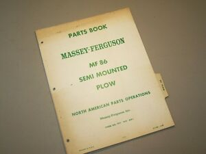 No 86 Semi Mounted Plow 4 Massey Ferguson Mf Tractor Parts Book Manual Catalog