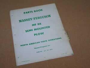 No 88 Semi Mounted Plow For Massey Ferguson Mf Tractor Parts Book Manual