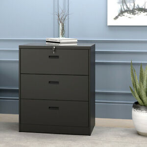 Metal Office Home File Cabinet Lockable Storgae Cabinet With 3 Drawers Black