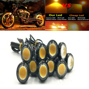 10x Small Amber Led Black Dome Motorcycle chopper bobber Turn Signal Lights Lamp