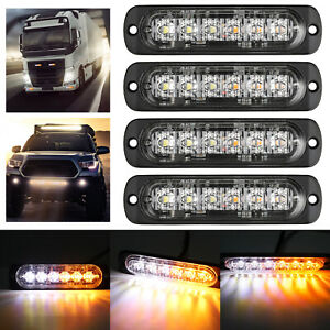 4x Amber white 6led Car Truck Emergency Beacon Warning Hazard Flash Strobe Light