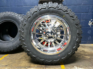20x10 Cali Summit Polished Wheels Rims 35 Mt Tires Package 8x170 Ford Excursion