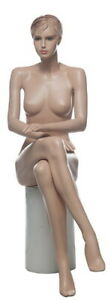4 Ft 6 In Female Sitting Mannequin Feature Face Sculptured Hair Skintone Sfw9ft