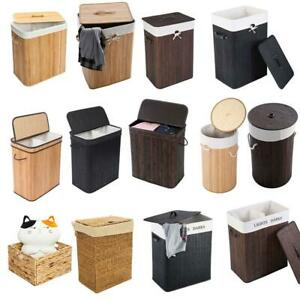 Modern Bamboo Hamper Storage Laundry Basket Durable Washing Cloth Bin Lid Sorter