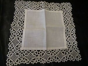 Vintage Ivory Wedding Heavy Lace Linen Hanky 11