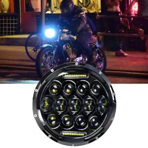 7 Inch Black Motorcycle Headlight Round Led Projector Drl For Harley Cafe Racer